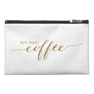 First Coffee Faux Glitter Confetti Travel Bag Travel Accessories Bags