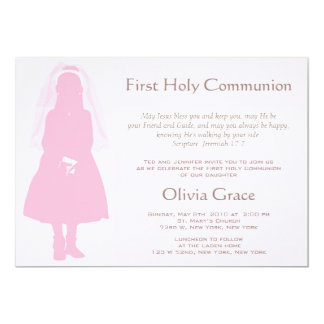 "First Communion and Announcement - Girl 5"" X 7"" Invitation Card"