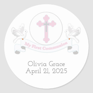 First Communion Banner with Doves Round Sticker