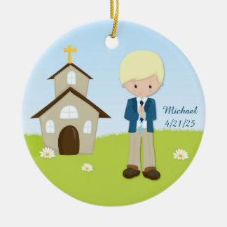 First Communion, Blonde Boy, Church Round Ceramic Ornament