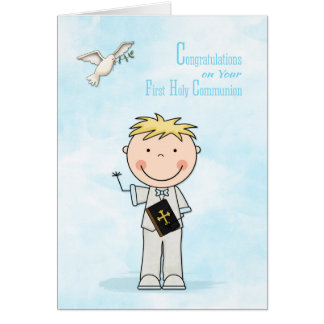 First Communion, Blonde Hair Boy, Congratulations Card