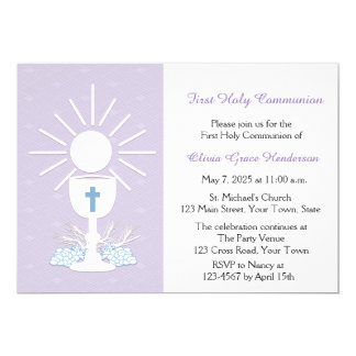 First Communion Chalice, Lilac Card