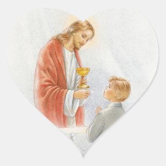 First communion confirmation boy heart sticker