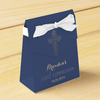 First Communion Favor Box, Gold Cross Favour Box