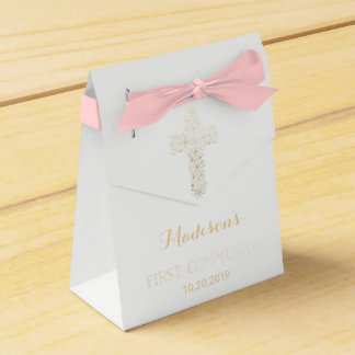 First Communion Favor Box, Gold Cross Wedding Favour Boxes