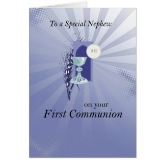 First Communion for Nephew with Blue Rays Card