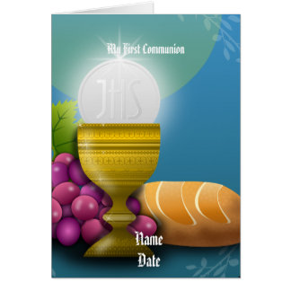 First Communion Gifts Eucharist Personalized Card