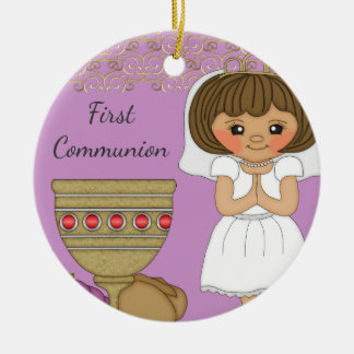 First Communion Girl in Purple With Date Ceramic Ornament