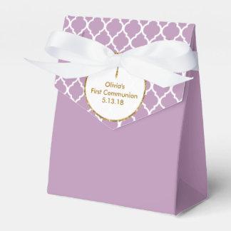 First Communion, Gold Cross on Purple , Custom Favour Box