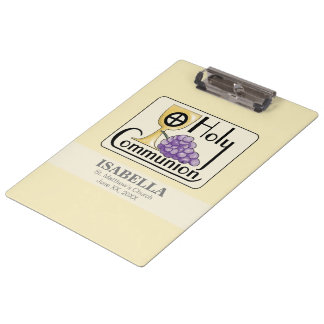 First Communion Grapes and Cup, Customizable Clipboard