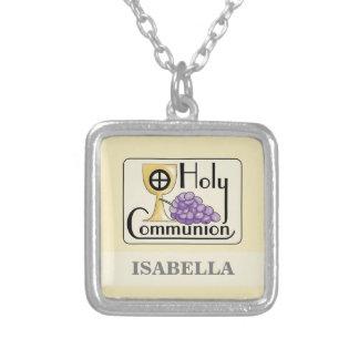 First Communion Grapes and Cup, Customizable Silver Plated Necklace