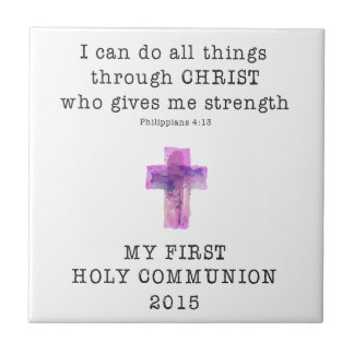 First Communion I Can Do All Things Pink Compact.p Small Square Tile