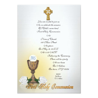 First Communion invitation Celtic cross