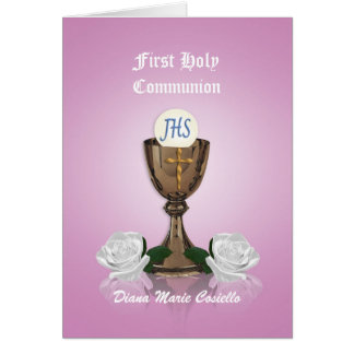 First communion invitation Chalice on pink