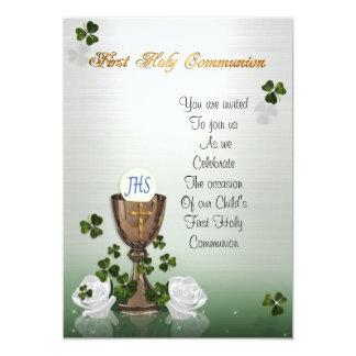 First Communion invitation with Irish shamrocks