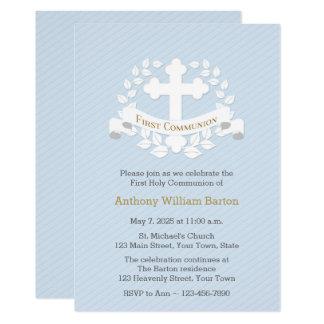 First Communion Leaf Laurel Cross Blue Card