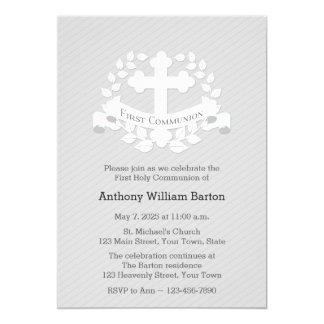 First Communion Leaf Laurel Cross Grey Card