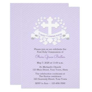 First Communion Leaf Laurel Cross Lilac Card