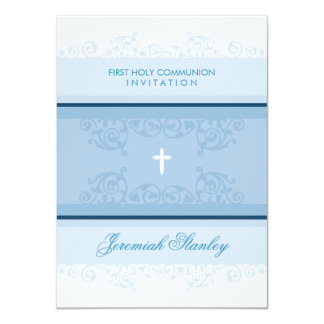 FIRST COMMUNION modern elegant swirls curls blue Card