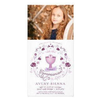 First Communion Photo Card - Invitation - Girl