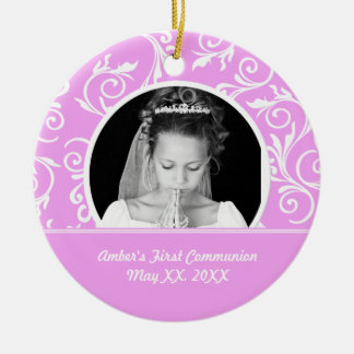 First Communion Pink Photo Ornament