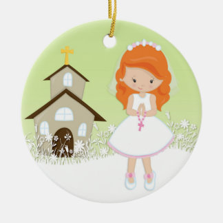 First Communion, Red Haired Girl, Church Round Ceramic Ornament