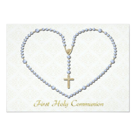First Communion Rosary Heart Blue Card