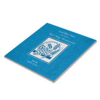 First Communion, Wheat, Grapes Blue Ceramic Tile