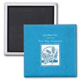 First Communion, Wheat, Grapes Blue Magnet