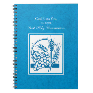 First Communion, Wheat, Grapes Blue Notebooks