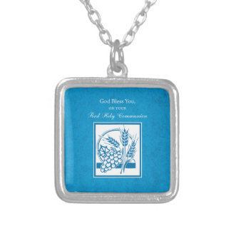 First Communion, Wheat, Grapes Blue Silver Plated Necklace