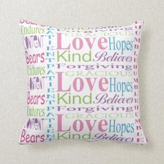 First Corinthians Love Words Decorative Text Cushions