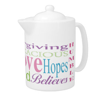 First Corinthians Love Words Teapots