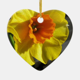 first daffodil ceramic heart decoration