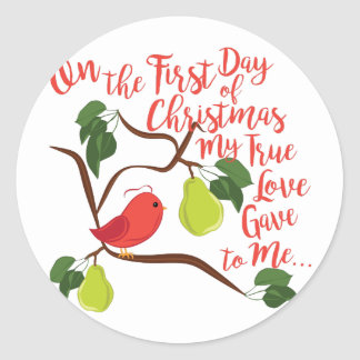 First Day Christmas Round Sticker