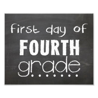 First Day of 4th Grade Chalkboard Sign