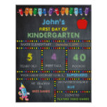 First Day of Kindergarten Sign BOY, Chalkboard Poster