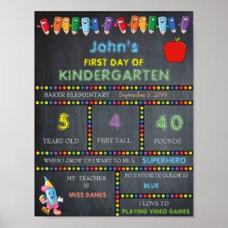 First Day of Kindergarten Sign BOY, Chalkboard Poster
