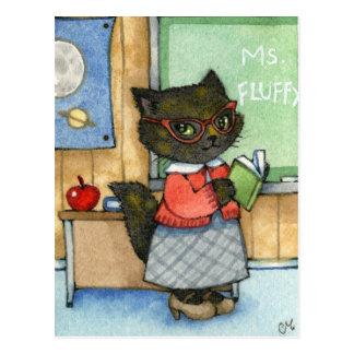 First Day of School - Cute Teacher Cat Art Postcard