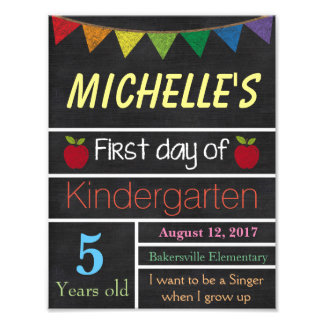 First Day of School Sign, School Chalkboard Sign Photo Print