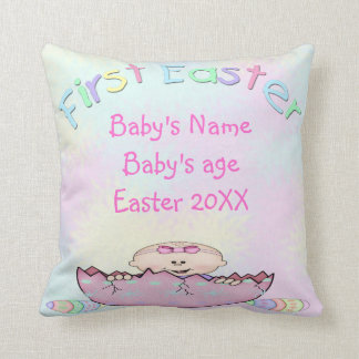 First Easter Baby Girl Throw Pillow