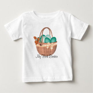 """""""First Easter, Easter Basket with Eggs Baby T-Shirt"""