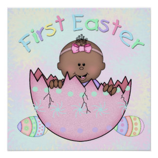 """First Easter Ethnic Baby Girl Poster (20"""" x 20"""")"""