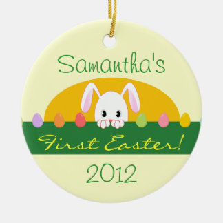 First Easter Peeking Bunny Personalized Ornament