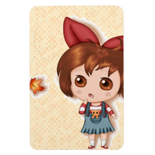 First Fallen Leaf Of Autumn Chibi Rectangle Magnets