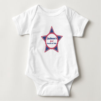 First Fourth of July Red, White, Blue Personalized Baby Bodysuit
