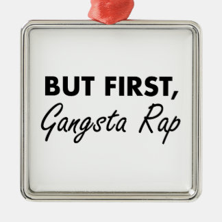 First Gangsta Rap Silver-Colored Square Decoration