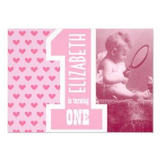 First Girl Baby Birthday Add Photo Pink Hearts 13 Cm X 18 Cm Invitation Card