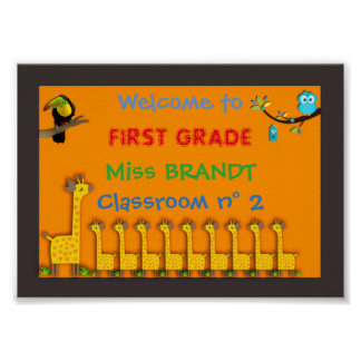 First grade Classroom sign, teacher name, frame Poster