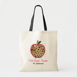 First Grade Teacher - Giraffe Print Apple Tote Bag